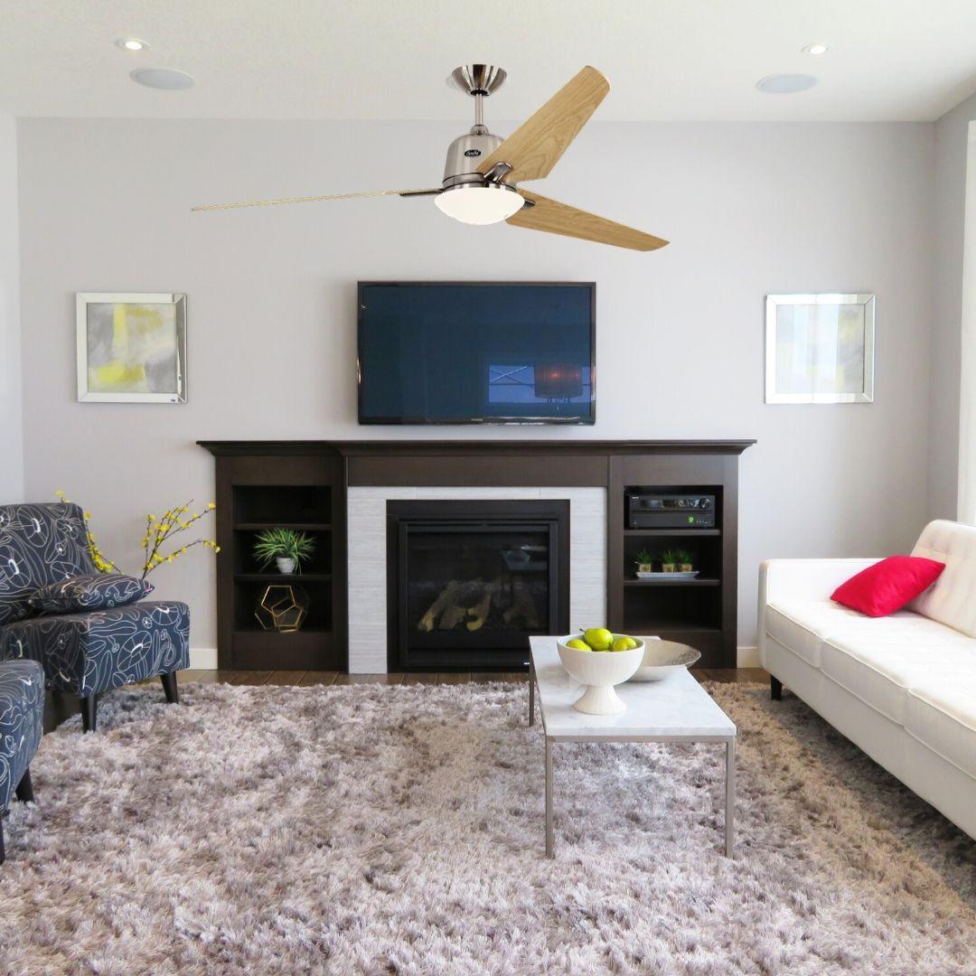 ventilateur de plafond avec lumiere en bois casafan