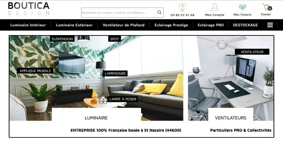Page d'accueil Boutica Design